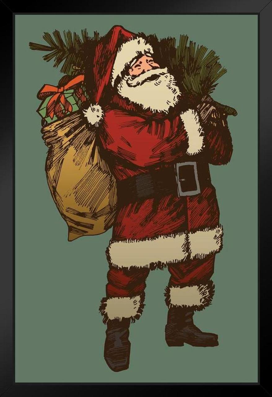 Santa Claus Wife And Kids Cartoot Art Print Home Decor Wall Art Poster F