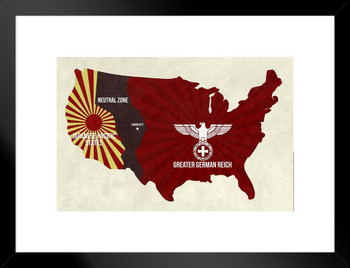 Mithc Axis United States Map Dark Television Matted Framed Wall Art