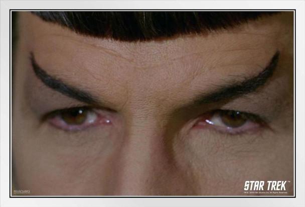Star Trek Spock Eyes Close Up The Original Series TOS TV Television Episode Merchandise White Wood Framed Poster 14x20