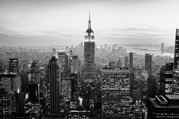 Empire State Building New York City NYC Skyline B&W Photograph Photo Photograph Laminated Dry Erase Sign Poster 36x24