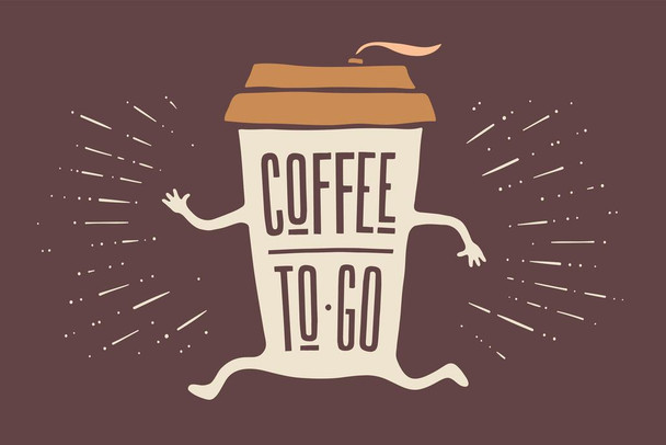 Coffee To Go Funny Art Print Cool Wall Art Laminated Dry Erase Sign Poster 36x24