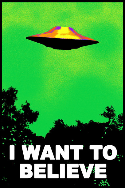 I Want To Believe Blacklight Poster UFO Artwork Alien TV Classic Retro 90s The Truth is Out There I Believe Poster All Seasons Cool Trippy Flocked Felt Velvet UV Black Light Reactive Psychedelic