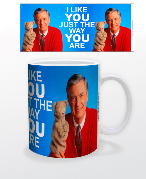 Mister Rogers Neighborhood I Like You Just the Way You Are Daniel Striped Tiger Puppet Fred In Sweater Ceramic Coffee Mug Tea Cup Fun Novelty Gift 12 oz
