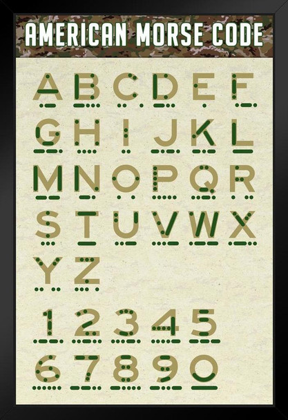 American Morse Code Alphabet and Numbers Camouflage Military Reference Chart USA Black Wood Framed Poster 14x20