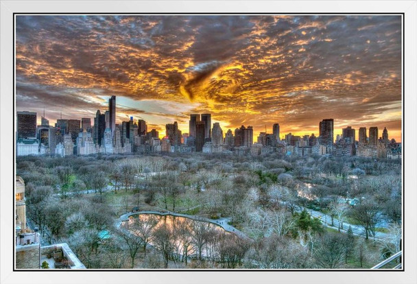 Sunset Over Central Park Manhattan New York City Photo Photograph White Wood Framed Poster 20x14