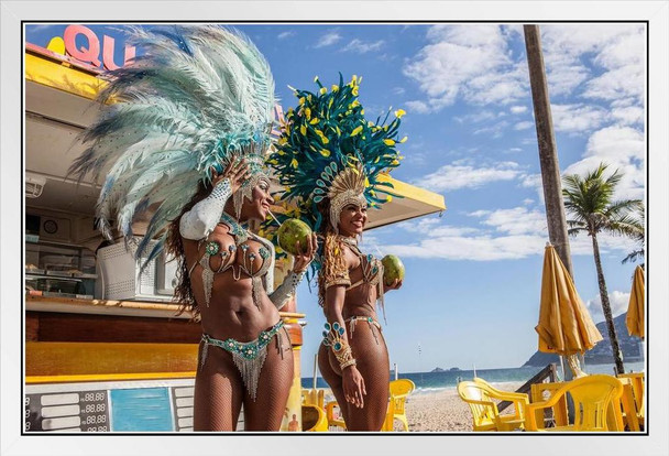 Samba Dancers in Costume with Coconut Drinks Photo Photograph White Wood Framed Poster 20x14