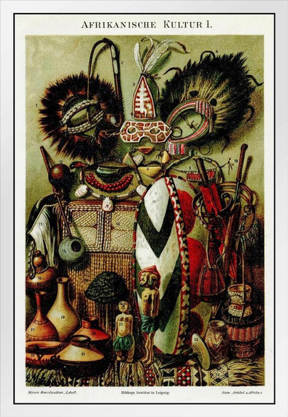 African Antiquities 1895 White Wood Framed Poster 14x20