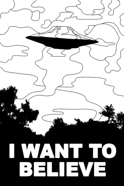 I Want To Believe UFO Alien Coloring Poster For Adults Activity Social Distancing Color Your Own The Truth is Out There SciFi Cool Wall Decor Art Print Poster 24x36
