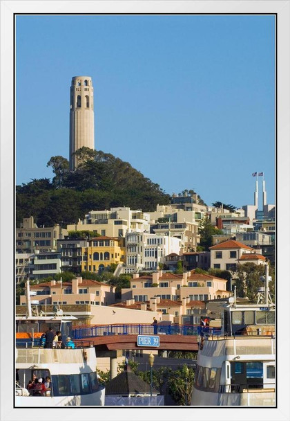 Coit Tower in San Francisco Photo Photograph White Wood Framed Poster 14x20