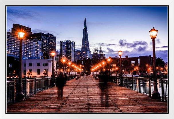 Pier 7 in San Francisco California at Night Photo Photograph White Wood Framed Poster 20x14
