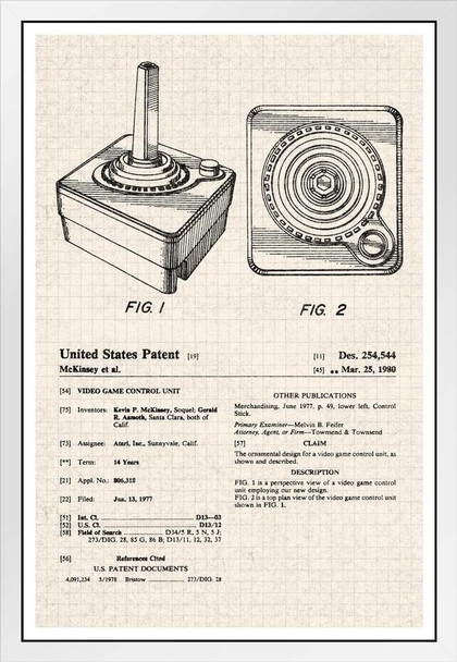 Joystick Video Game Gaming Official Patent Diagram White Wood Framed Poster 14x20