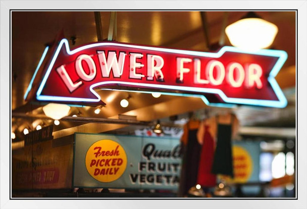 Neon Sign Lower Floor Pike Place Market Seattle Photo Photograph White Wood Framed Poster 20x14