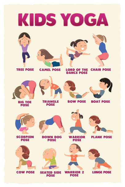 Kids Yoga Poses Chart Fitness Exercise Indoor Activity Mindfulness Meditation Classroom Cool Huge Large Giant Poster Art 36x54