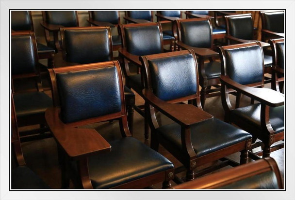 Empty Student Desks Seating College Classroom Lecture Hall Photo White Wood Framed Poster 20x14