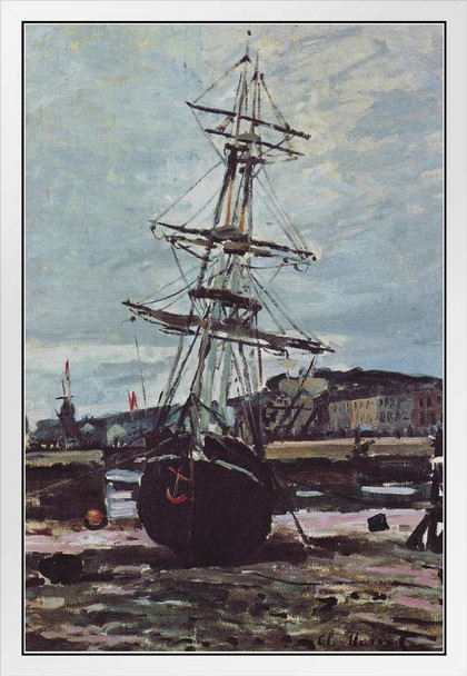 Claude Monet Aground Boat In Fecamp 1868 Oil On Canvas French Impressionist Artist White Wood Framed Poster 14x20