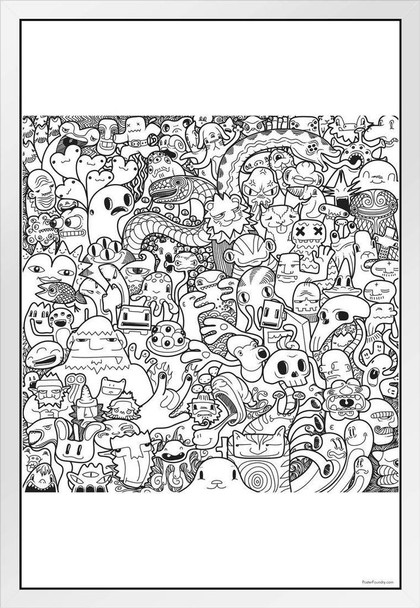 Monsters Graffiti Coloring White Wood Framed Poster For Kids or Adults Family Activity Creative Fun Children Cute Color Your Own Poster 14x20