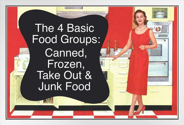 The 4 Basic Food Groups Canned Frozen Take Out & Junk Food Humor White Wood Framed Poster 20x14