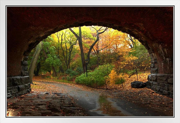 Through the Tunnel Autumn in Central Park NYC Photo Photograph White Wood Framed Poster 20x14