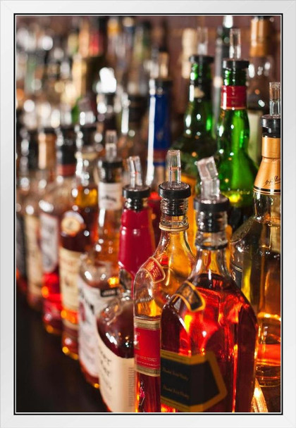 Choices Bottles of Liquor Whiskey Bourbon Sitting on a Shelf Photo Photograph White Wood Framed Poster 14x20