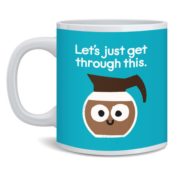 Coffee Pot Lets Just Get Through This David Olenick Grounds For Determination Funny Food Pun Cartoon Cute Ceramic Coffee Mug Tea Cup Fun Novelty Gift 12 oz