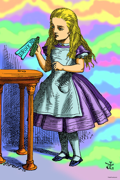 Alice in Wonderland Drink Me Bottle Shrinking Potion Psychedelic Trippy Aesthetic Cool Wall Decor Art Print Poster 12x18