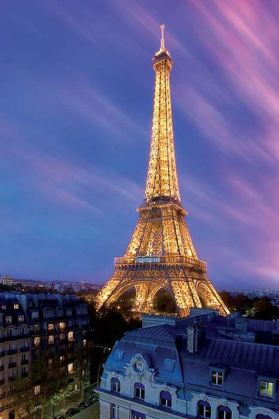 Eiffel Tower at Dusk Paris France Lights Photo Cool Wall Decor Art Print Poster 24x36