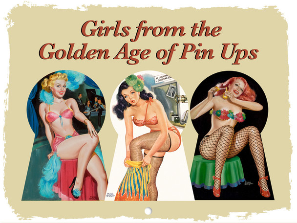 Pin Up Girls Golden Age Retro Vintage Style Burlesque Pinup 2021 Wall Calendar 12 Month Monthly Full Color Thick Paper Pages Folded Ready To Hang 18x12 inch