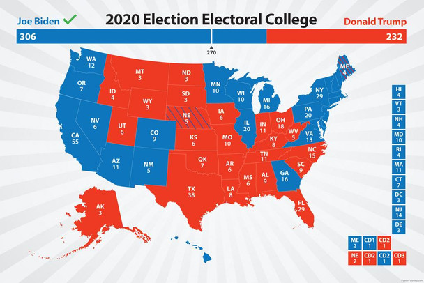 Joe Biden 2020 Electoral College Map President Election Results Road to 270 Votes Blue Red States Bye Don Kamala Harris Cool Huge Large Giant Poster Art 36x54
