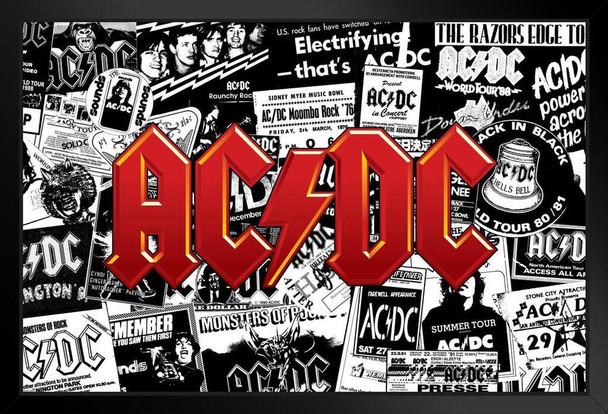 AC/DC Live Concert Tour Collage Rock Band Music Highway To Hell Back In Black Classic Retro Vintage Art Print Stand or Hang Wood Frame Display 9x13