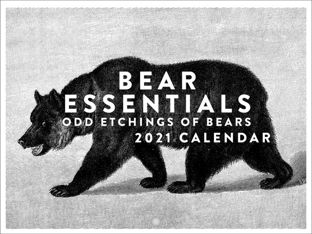 Bear Essentials Odd Etchings of Bears Vintage Historical Funny 2021 Wall Calendar 12 Month Monthly Full Color Thick Paper Pages Folded Ready To Hang 18x12 inch
