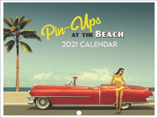 Pin Up Girls At the Beach Retro Vintage Style Swimsuit Pinup 2021 Wall Calendar 12 Month Monthly Full Color Thick Paper Pages Folded Ready To Hang 18x12 inch