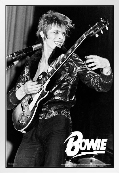 David Bowie Guitar Glam Rock Classic Retro Vintage Concert Music White Wood Framed Poster 14x20