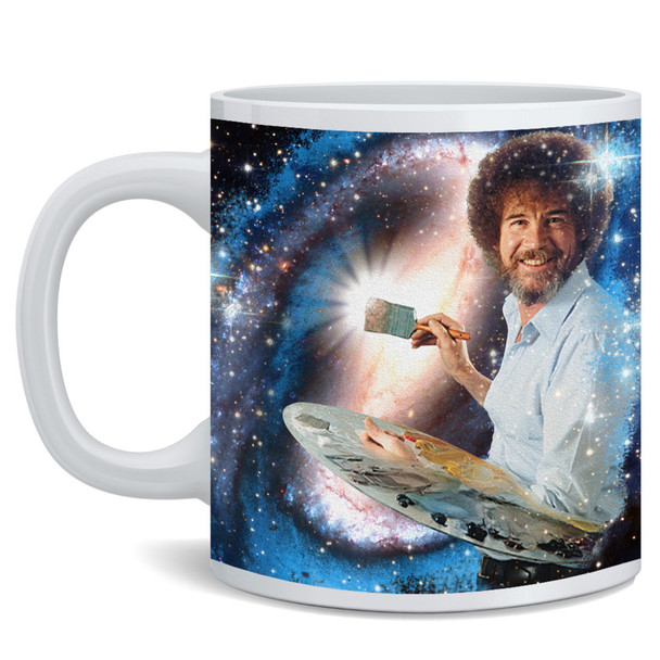 Bob Officially Licensed Ross Mug Painting Galaxy Stars Space Universe Cool Motivational Retro Vintage Style Positive Energy Ceramic Coffee Mug Tea Cup Fun Novelty Gift 12 oz