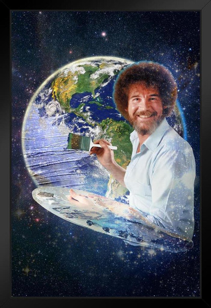 Bob Ross Painting the Earth Planet Space Universe Awesome Funny Art Print Stand or Hang Wood Frame Display 9x13