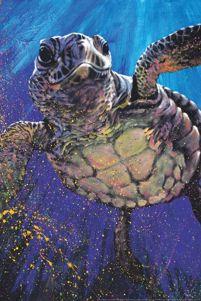 Kemps Ridley Sea Turtle Swimming Painting by Stephen Fishwick Stretched Canvas Art Wall Decor 16x24