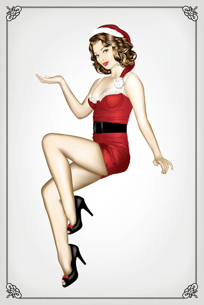 Sexy Santa Pin Up Girl Retro Cool Wall Decor Art Print Poster 12x18