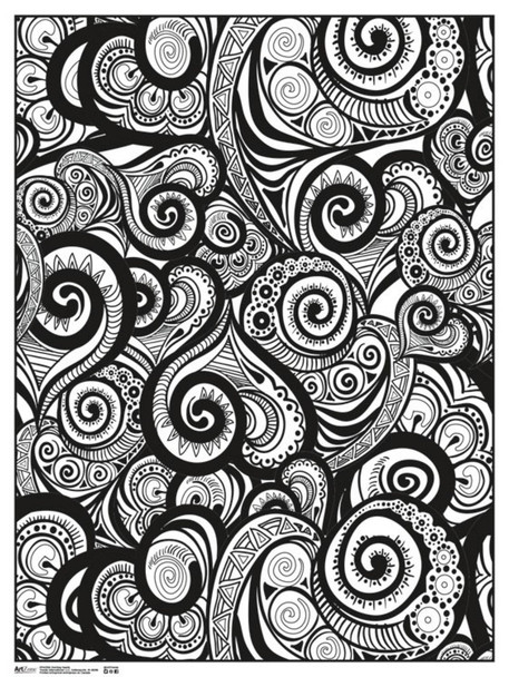 Swirling Hearts Art Print Coloring Poster