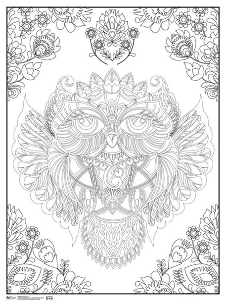 Fancy Owl Art Print Coloring Poster