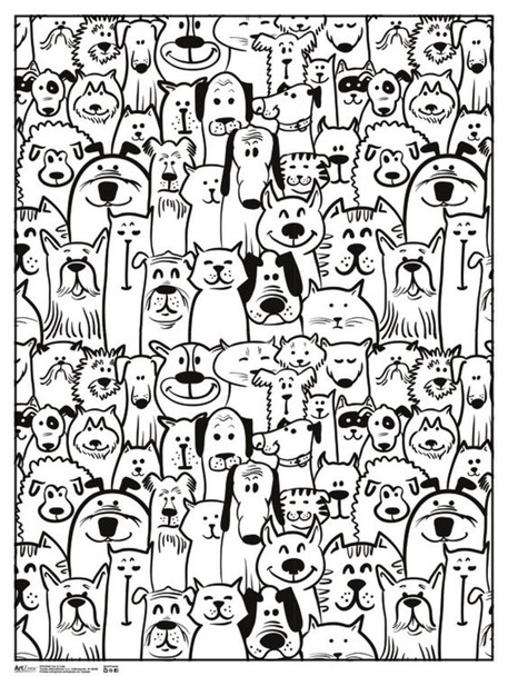 Fun & Cute Animals Coloring Poster