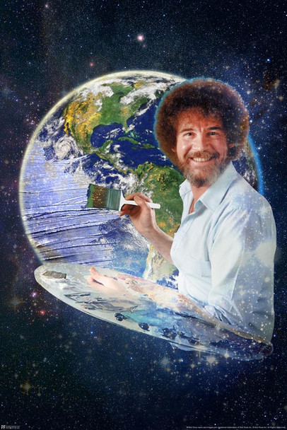 Bob Ross Painting the Earth Planet Space Universe Awesome Funny Stretched Canvas Art Wall Decor 16x24
