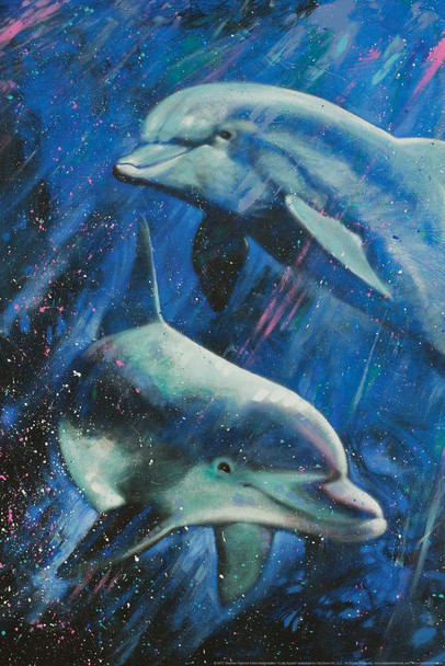 Life Aquatic Dolphins Swimming Painting by Stephen Fishwick Art Stretched Canvas Art Wall Decor 16x24