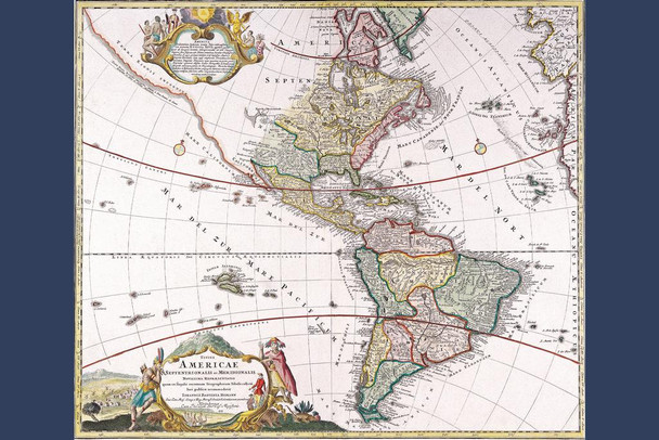 Antique Map of North and South America Stretched Canvas Wall Art 16x24 inch