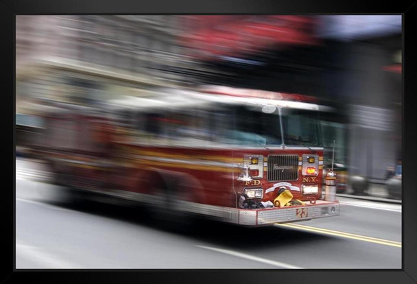 NYFD Fire Truck Speeding To A Fire Photo Photograph Art Print Stand or Hang Wood Frame Display Poster Print 13x9