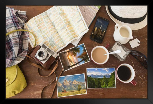 Travel Montage Coffee Maps Postcards Phone Photo Art Print Stand or Hang Wood Frame Display Poster Print 13x9