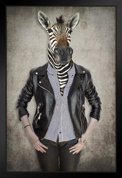 Zebra Head Wearing Human Clothes Wild Animal Mashup Funny Parody Animal Face Portrait Art Photo Art Print Stand or Hang Wood Frame Display 9x13