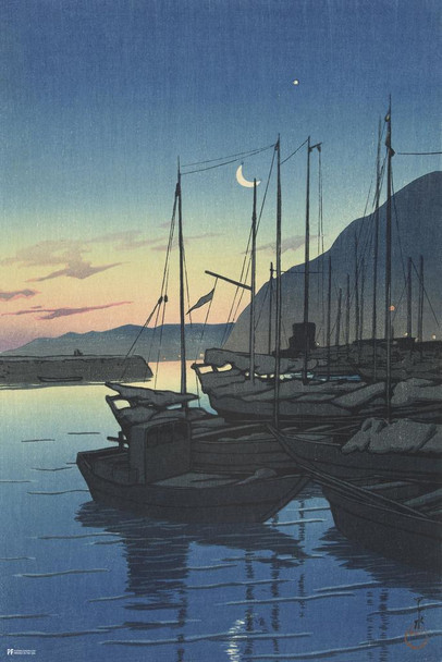 Morning in Beppu Hasui Kawase Japanese Painting Japanese Woodblock Art Nature Asian Art Modern Home Decor Boats Harbor Night  Stretched Canvas Art Wall Decor 16x24