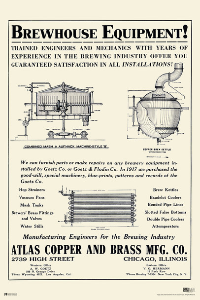 Brewhouse Equipment Vintage Brewery Poster