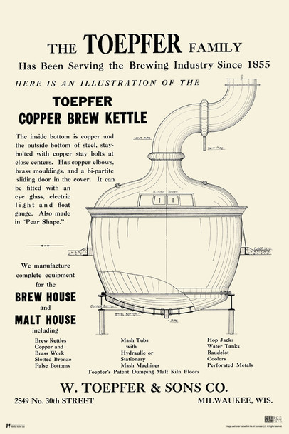 Brew Kettle Vintage Brewery Poster