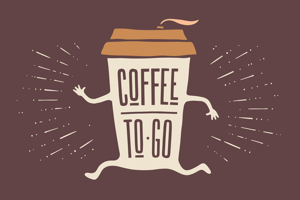 Coffee To Go Funny Cool Wall Decor Art Print Poster 18x12