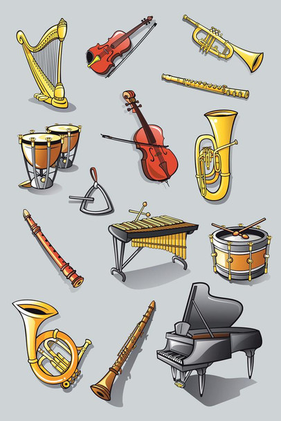 Instruments of an Orchestra Illustration Cool Wall Decor Art Print Poster 24x36